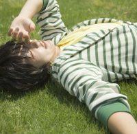 芝生で寝そべる